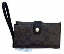 Coach Signature Brown & Black PVC Phone Card Clutch Wallet Wristlet, 53975 ($95)