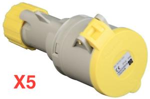 Lewden 110v 63a ip67 2p+e 4 Pin Yellow Trailing Socket PM63//800