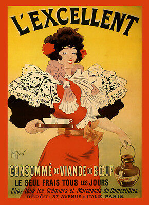 Consumme Soup Beef Broth France French Food Paris Vintage Poster Repro FREE SH
