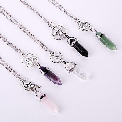 Natural Quartz Crystal Stone Point Chakra Healing Gemstone Pendant Necklace ^-^