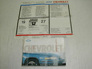 1992 chevy lumina owners manual with window sticker rare ebay rh ebay com 1998 chevy lumina owners manual 98 chevy lumina owners manual