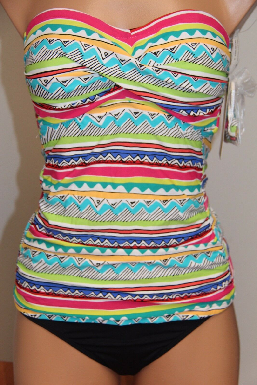 NWT Anne Cole Swimsuit Bikini Tankini 2 pc set Sz S Strap