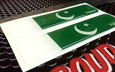 "Pakistan Flag Proud Domed Decal Car Emblem Flexible 3D 4""x1"" Set of 2 Stickers"