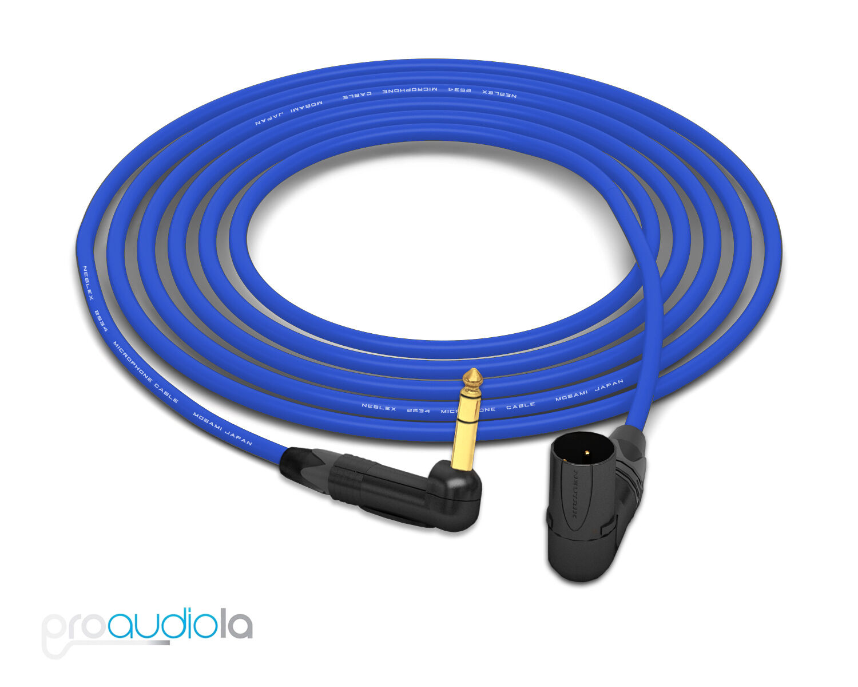 Mogami 2534 Quad Cable   Neutrik Gold 90º TRS to 90º XLR-M   Blau 25 Feet 25'