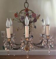 Antique Vintage French Porcelain Flower Basket Crystal Chandelier Bouquet