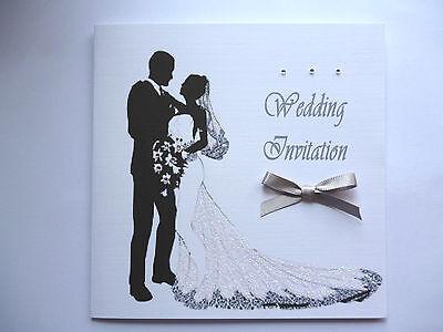 10 Wedding  Invitations..Glitter Silhouette Bride & Groom size 6 insquare or A5