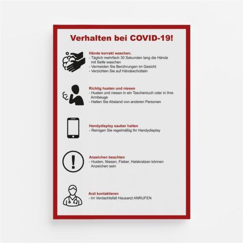 Warnhinweis Aufkleber Verhaltensregeln Schutz Hygiene Corona Folie Sticker A4