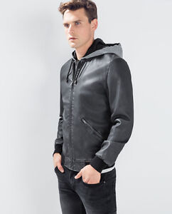 a0464ebe2c6 Details about NWT ED Jordan Men's Faux Leather hooded jacket Black  Motorcycle Zara S-2XL