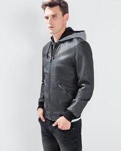 Nwt Ed Jordan Men S Faux Leather Hooded Jacket Black Motorcycle Zara