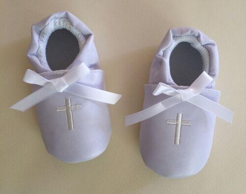Baby Boy Girl White Christening Cross Formal Wedding Shoes 0-12m Size 2//3//4