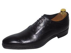 Black Italian Novità Hand Shoe Leather Cucito Luxury Ostrich qf8f7Z