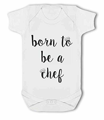 Born to be a Chef with chefs hat Baby Vest by BWW Print Ltd
