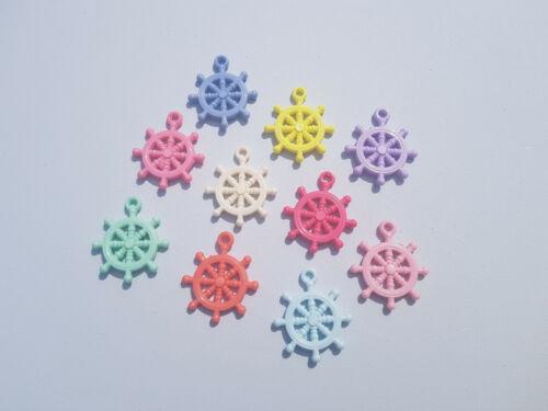 10 colgantes acrílicos X-rueda Náutica 35mm-Color Mezclado