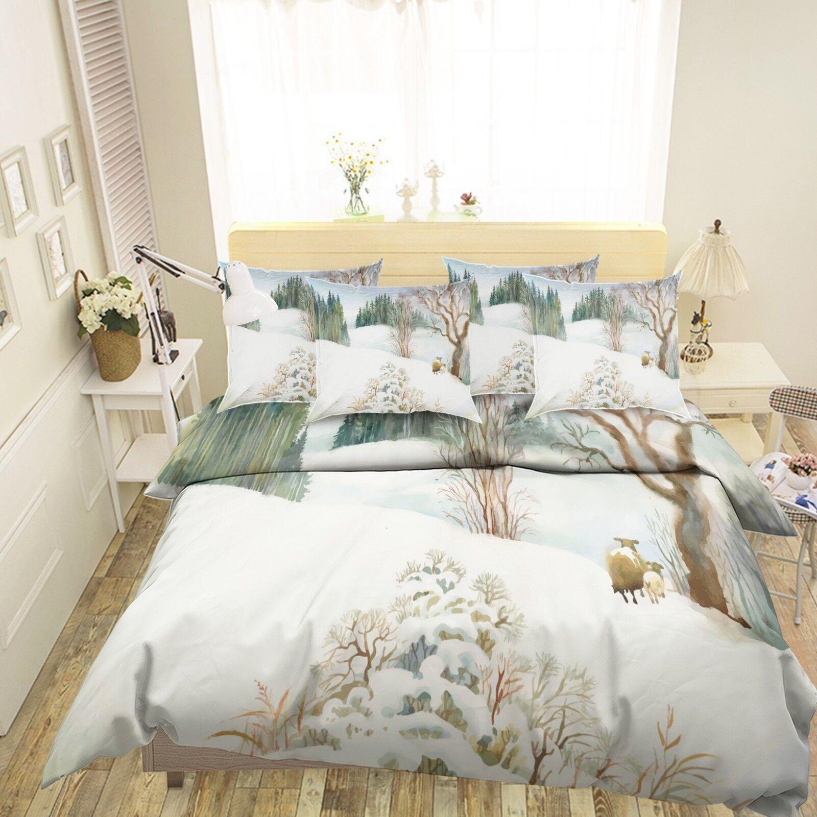 3D Snow Landscape 989 Bed Pillowcases Quilt Duvet Cover Set Single Queen King CA