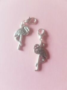 1-x-Flamingo-Stork-Alice-in-Wonderland-Bird-Pink-Silver-Plated-Clip-On-Charm