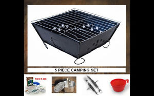 Camping supplies survival mess kit portable bbq grill utensils