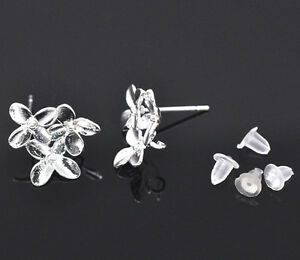 Wholesale Lots Silver Plated Flower Earring Posts W/Stoppers&Loop 15x14mm