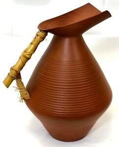 """Vintage 16"""" Large Hand Turned Natural Clay Bamboo Handle Studio Pottery Pitcher"""