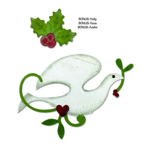 Sizzix bigz die Colombe Oiseau /& Branche bonus embosslits die Holly /& baies 658183
