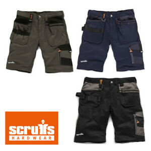 Scruffs-Oficio-Trabajo-Pantalones-Cortos-Pizarra-Negro-Azul-Multiples-Bolsillos-De-Combate-Cargo