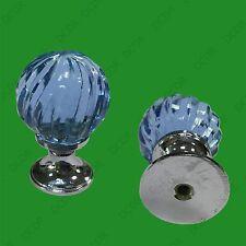 2x Clear Blue Glass Crystal Swirl Door Drawer Cupboard Pull Knob Handle