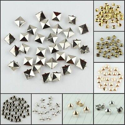 Pyramid Stud 50 Pcs Pyramid Rivets Metal Claw Beads Nailhead Punk Spot Studs with Spikes Gold, 1//2 inch