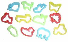 12 PLASTIC PLAY DOUGH COOKIE CUTTERS ASSORTED ANIMAL & TRANSPORT SHAPES 9000CUT