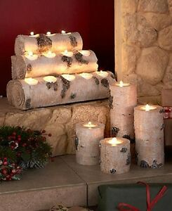 Fireplace Candle Holder Rustic Log Tealight Tea Light Mantle Centerpiece Table | Hogar y jardín