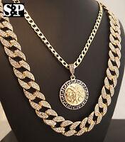 Medusa Head W/ Cuban Chain & Full Iced Out Cuban Chain Hip Hop Necklace Set