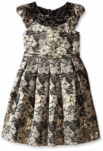 Girls-2T-16-Gold-Black-Floral-Metallic-Brocade-Waistline-Social-Party-Dress