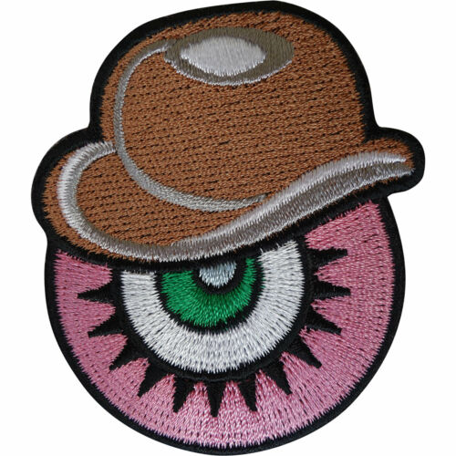 Eyeball Bowler Hat Patch Iron Sew On Eye Embroidery Applique Embroidered Badge