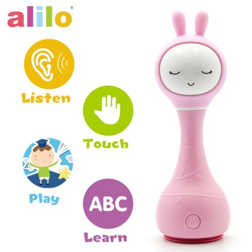 Pink Alilo R1 Smarty Bunny Shake Rattle Musical Toy With Color Identifier