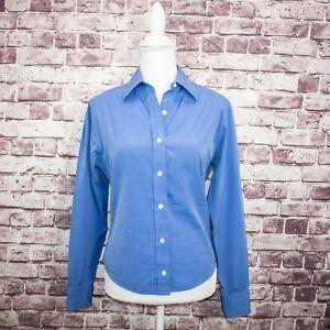 TURNBULL-amp-ASSER-Women-039-s-Button-Front-Dress-Shirt-Blue-Cotton-Fits-Sz-Medium