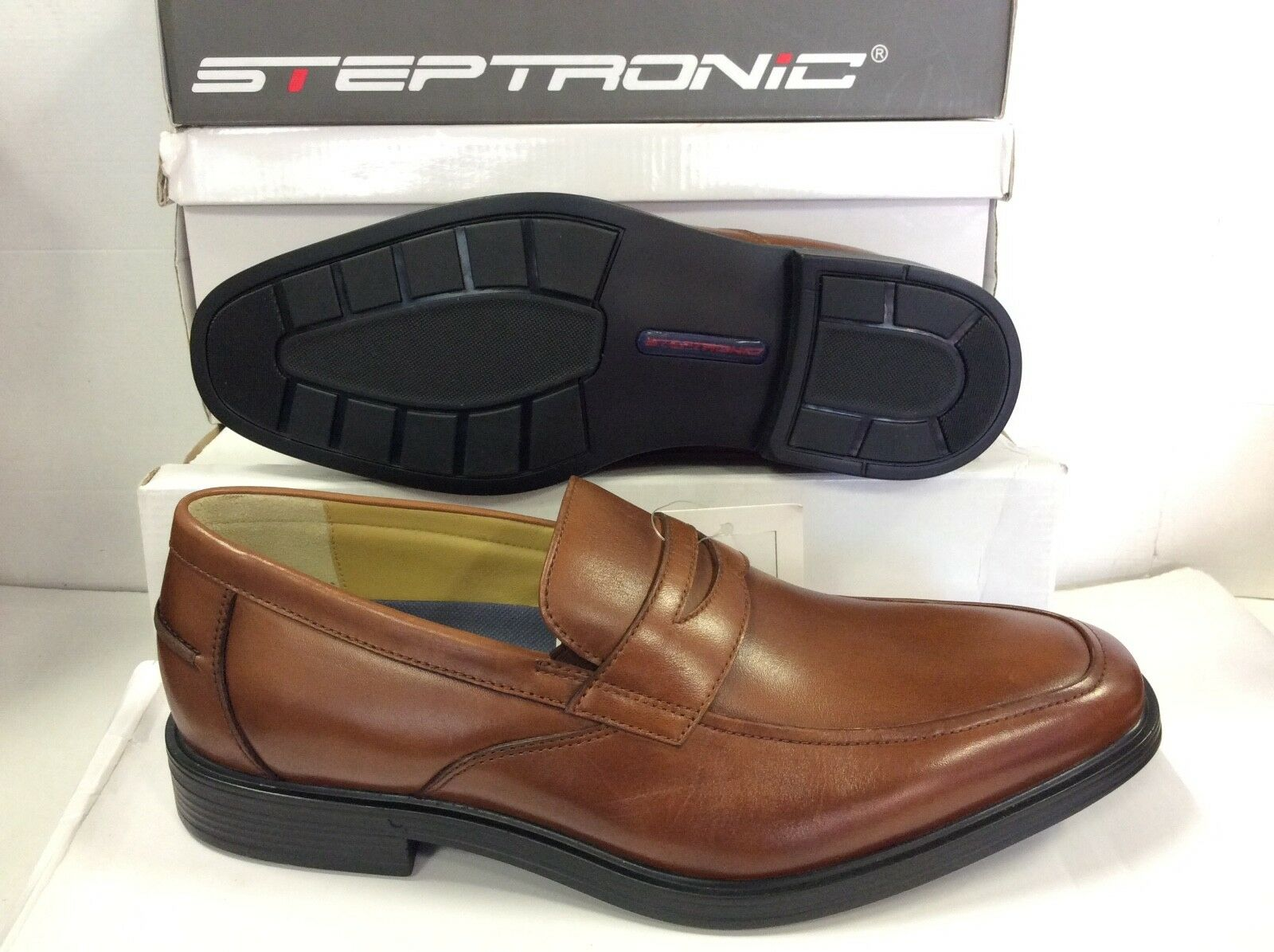 Steptronic Eric Slip on Waxed Brown Leather Men's shoes, Size UK 8   EUR 42