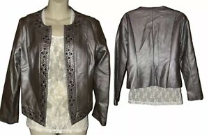Ruby-Rd-faux-leather-pewter-gray-open-front-jacket-Blazer-size-12-P