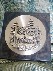 Wall Hanging Of Two Deer In Forest Copper Disk On Wooden Plaque 9 1 2 Ebay