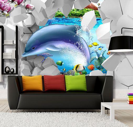 3D I delfini, fiori Parete Murale Carta da parati immagine sfondo muro stampa