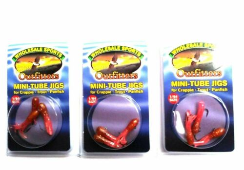 3 PACKAGES Mini Tube Jigs With Hooks Size 1//64 Color Pink Lady Item Jig 9