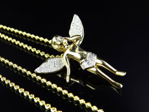 Yellow Gold Finish Real Diamond 3d Angel Pendant Charm .50 Ct with Moon Chain