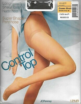 JCPenny Super Shaper Control Top Pantihose Long Smoke Grey 85 Nude Heel Vintage