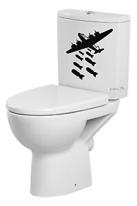 New home decor art style plane bomber decals stickers vinyl wc toilet bowl ebay - Decor wc ...