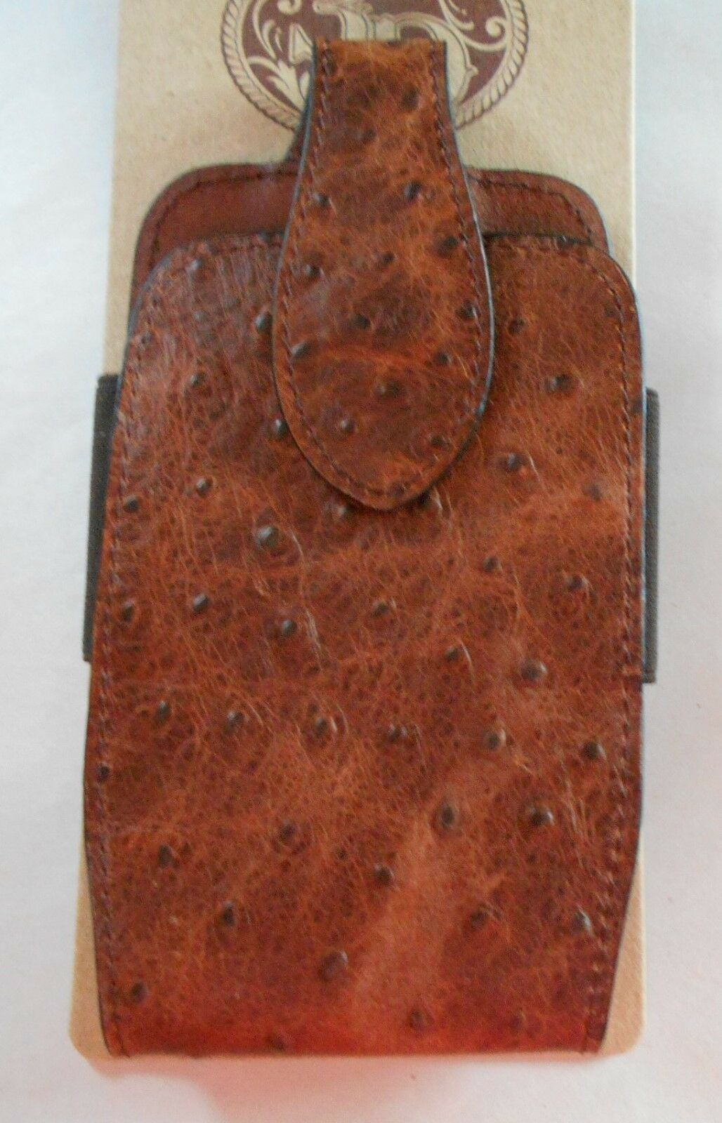 3D LEATHER WESTERN OSTRICH STAMPED 3 1 2X6 3 4 INCH SMART PHONES   MAGNATIC