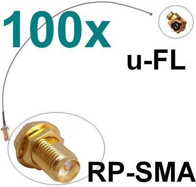 100x Cavo Adattatore Antenna Rp-sma U-fl Wlan Pezzo Speedport Fritz! Box Pigtail- Ritardare La Senilità