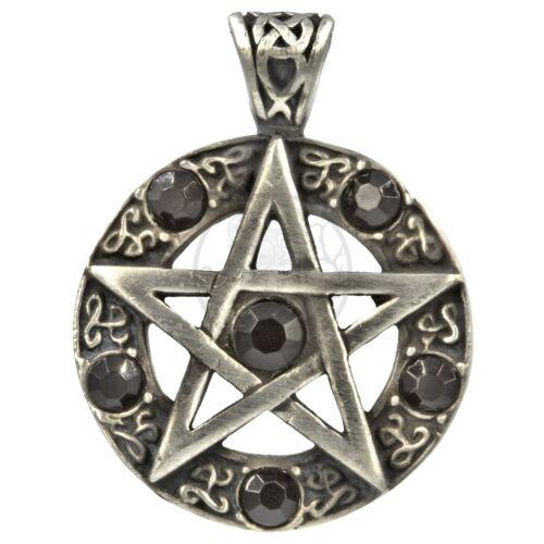 """Pentagrama medallón con tallas decorativas /& 6 pulidos piedras de cristal en /""""negro/"""""""