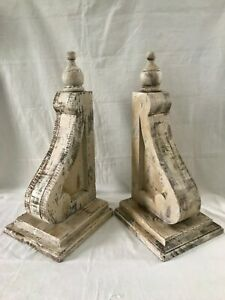 TWO-XL-WOOD-CORBELS-Vintage-Gable-Brackets-Corner-Brace-Roof-Support-20-034-TALL