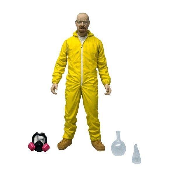 "NEW AMC Breaking Bad Walter White 6"" Yellow Hazmat Suit Meth Action Figure Mezco"