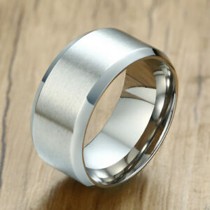 10mm-Silver-Men-Man-Wedding-Ring-Matte-Band-Stainless-Steel-Jewelry-US-Size-7-12