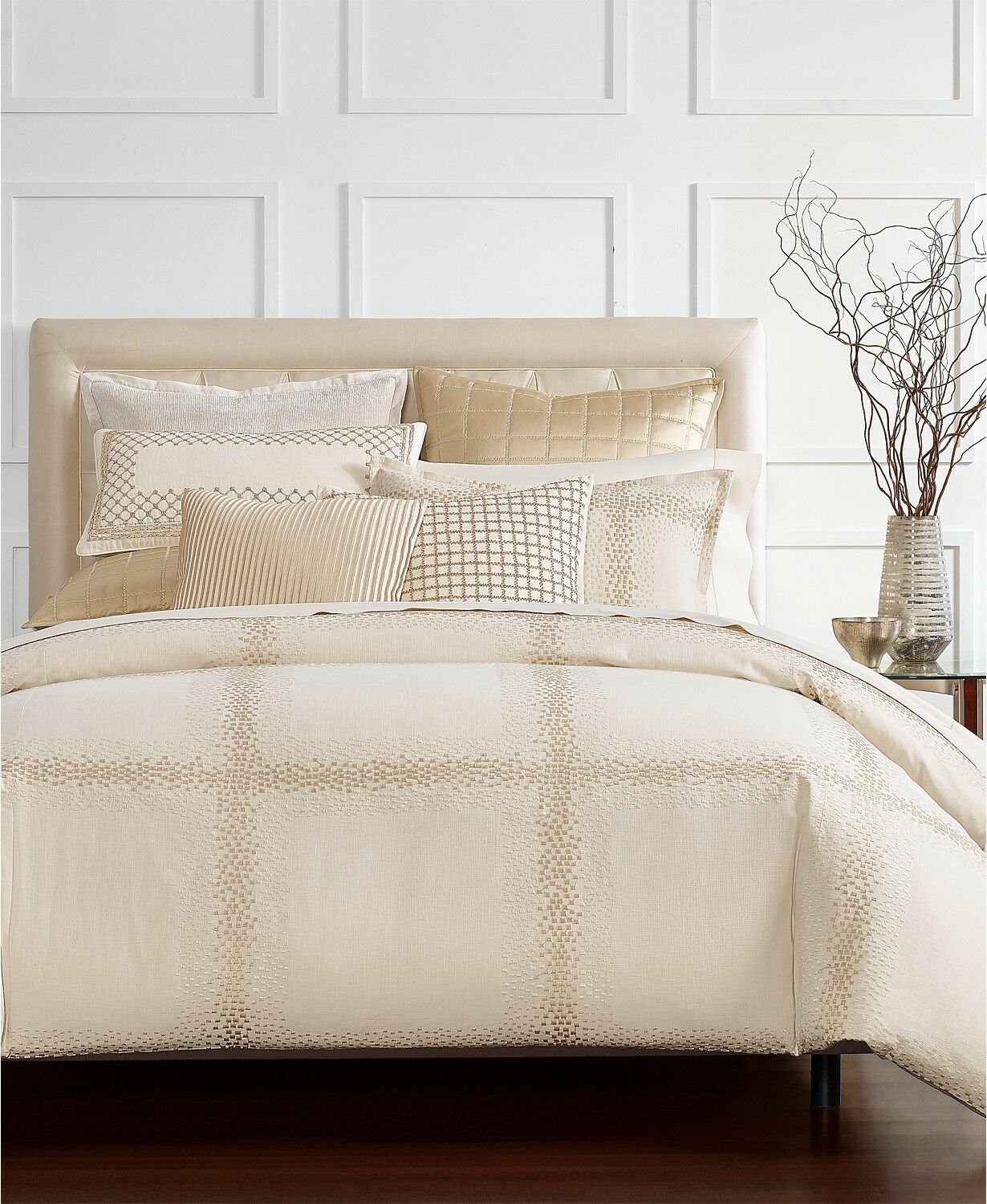 Hotel Collection Mosaic Grid Embroidered FULL QUEEN Comforter BEIGE Bedding I195