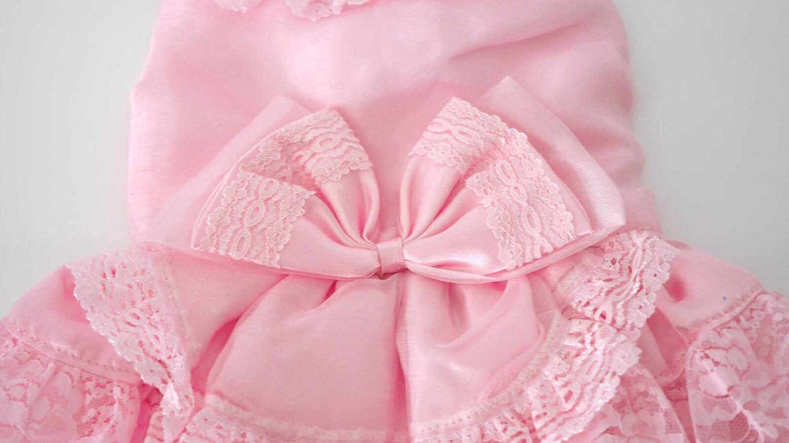 Hundekleid Brautkleid Party Wedding Rosa Spitze Schleife Schleife Schleife GR XS, S und M - KLEID   | Schöne Kunst  220b6b