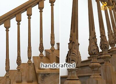 Carved Stair Banister And Spindles For Sale Stair Parts 10 Pc Ebay